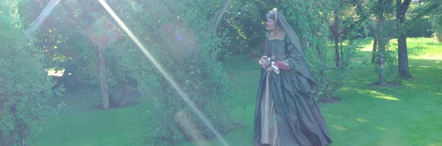 Professor Alison Findlay brings Lady Mary Wroth's play to life in her family home Penshurst Place during filming for a short film interpretation of a love sonnet for an online learning course.