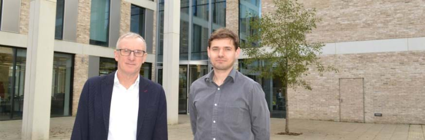 Professor Andrew Richardson and Dr David Cheneler stood outside the Engineering Department