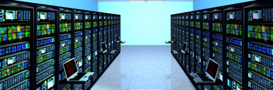 An image of servers in a data centre
