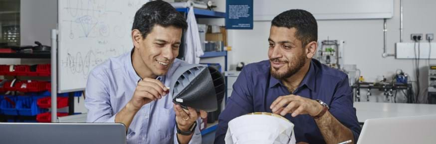 Nicolas Orellana and Yaseen Noorani with their urban wind turbine design