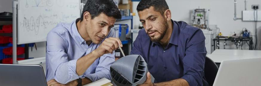 The two Dyson Award winning students are looking at their turbine invention