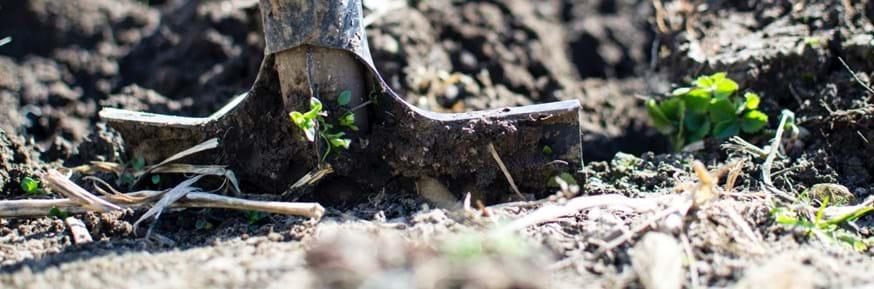 A spade digs into soil