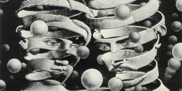 Escher picture of disintegrating head