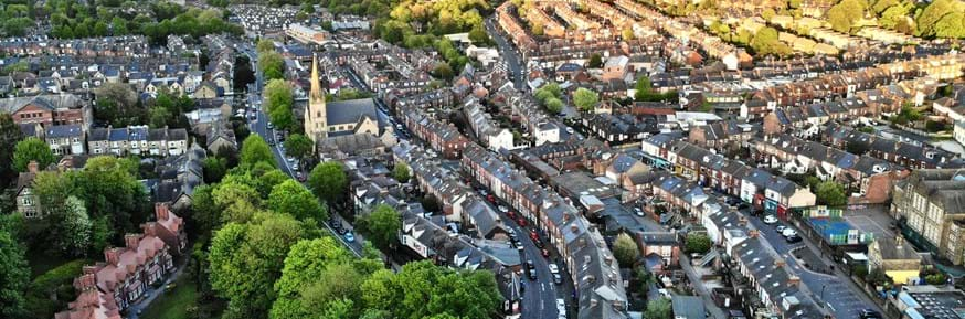 An aerial view of a housing estate