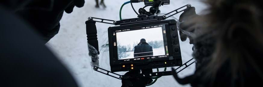 film crew working in wintery conditions
