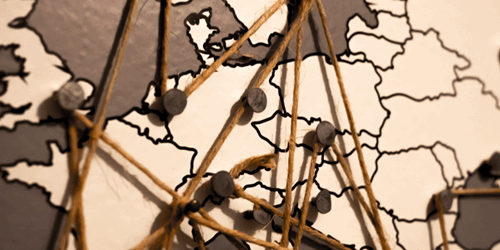 Pinboard map of Europe with connecting strings