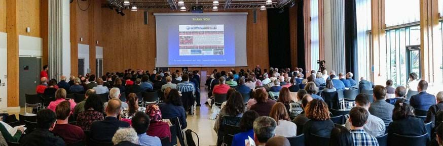 Large crowd of people at the OR60 conference at Lancaster University