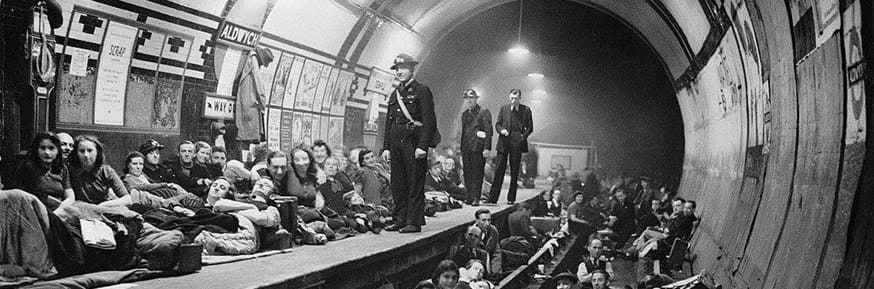 Members of the public sheltering in Aldwich Tube Station 1940 -