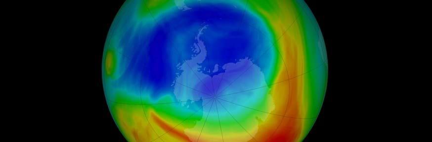 Antarctic ozone hole image courtesy of NASA