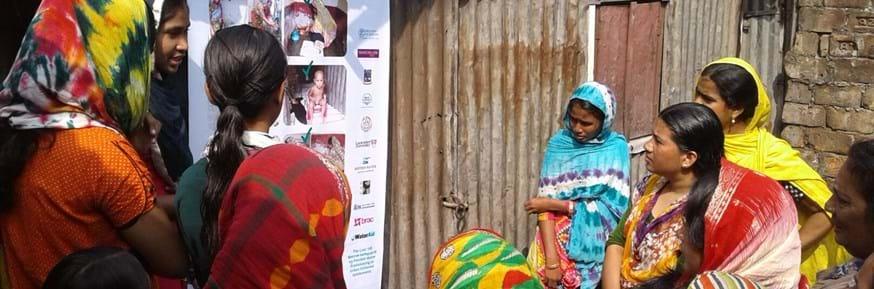 young women in Bangladesh give clean water training