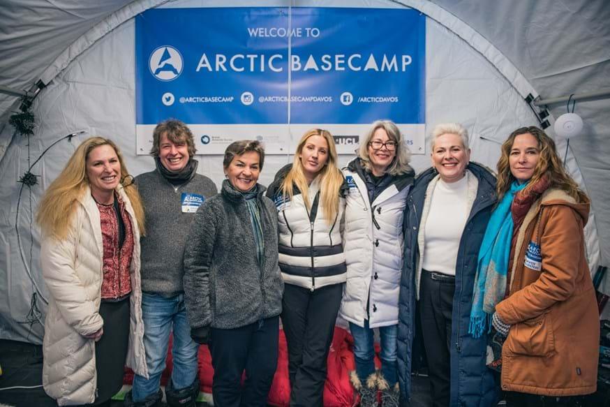 From left: Suzanne DiBianca, Jeremy Wilkinson, Christiana Figueres, Ellie Goulding, Gail Whiteman, Halla Tómasdóttir, Julienne Stroeve at the 2019 Arctic Basecamp in Davos