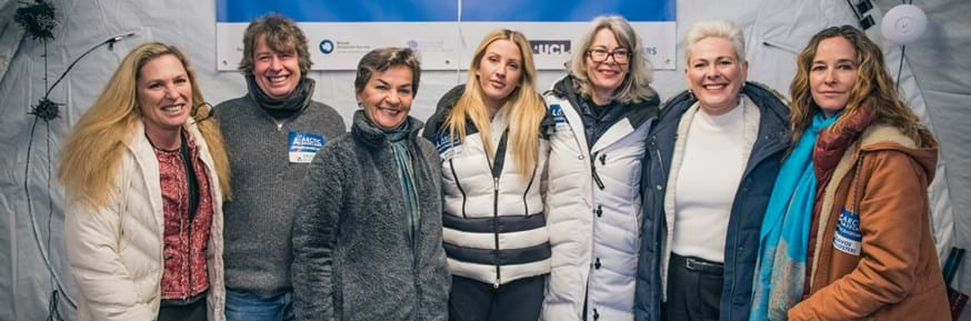 From left: Suzanne DiBianca, Jeremy Wilkinson, Christiana Figueres, Ellie Goulding, Gail Whiteman, Halla Tómasdóttir, Julienne Stroeve at the 2019 Arctic Basecamp in Davos