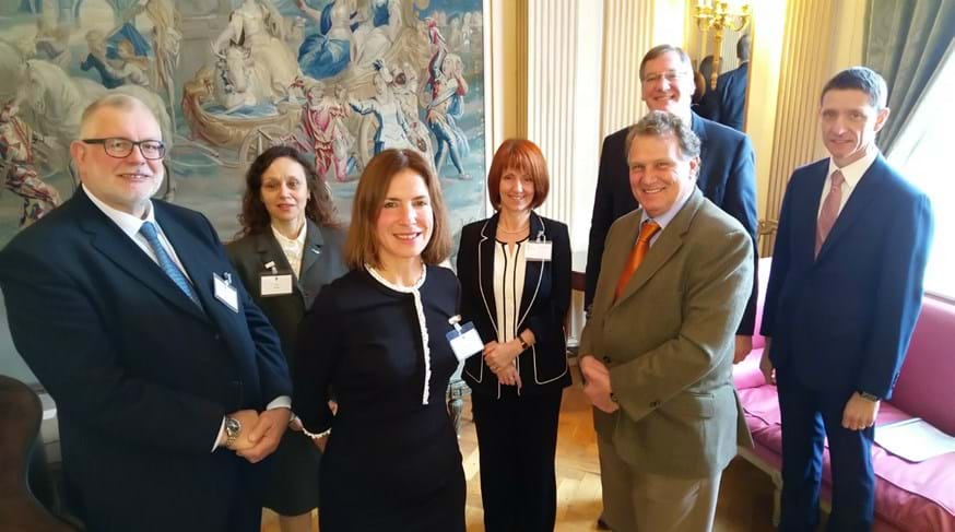 N8 AgriFood's chair at Lancaster University, Professor Mariana Rufino with the Argentinian Ambassador Renato Carlos Sersale di Cerisano (both front, centre) at the Embassy.