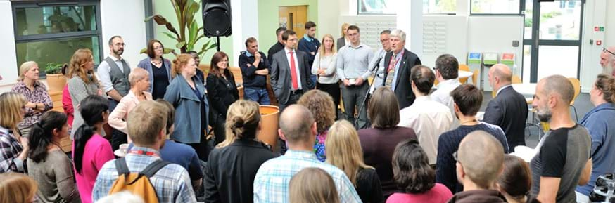 Colleagues and collaborators gather to the official opening of the Lancaster Environment Centre courtyard