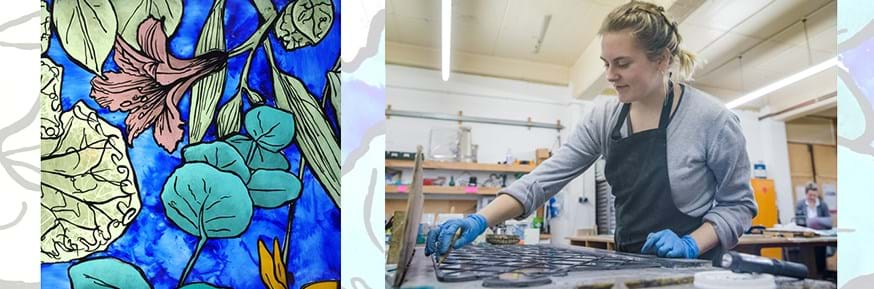 Becky Bowman at work and (left) the design for the competition which won her the 'Reflections of the Lord Mayor Design' prize in the annual Stevens Architectural Glass competition