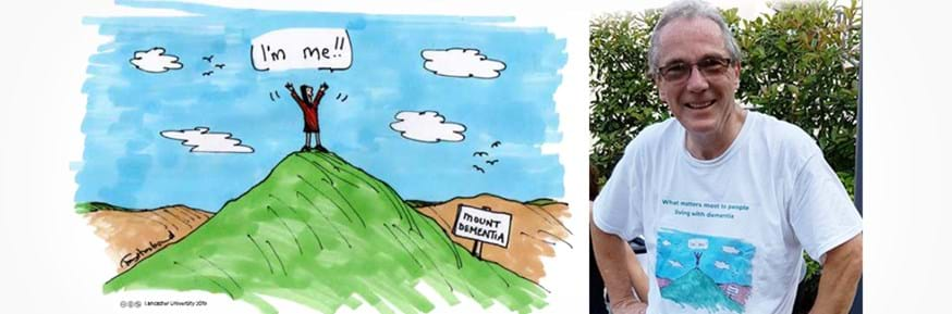 Professor Alistair Burns, the National Clinical Lead for Dementia, shows his support for this research by wearing a t-shirt with the study cartoon drawn by Tony Husband.