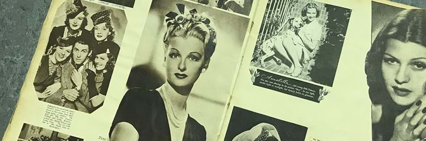 Montage of cinema stars from the 1930s