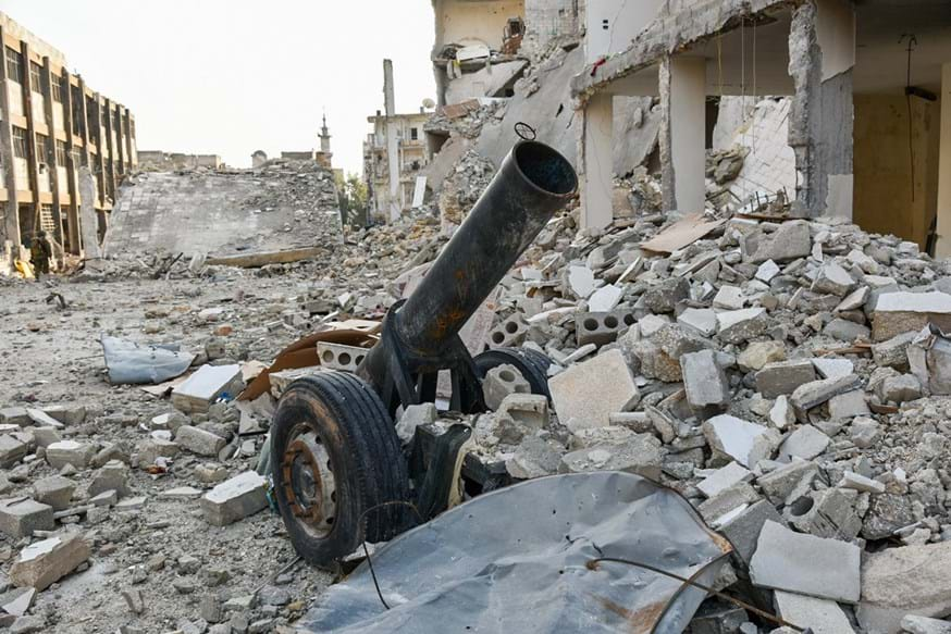 A mortar launcher in debris