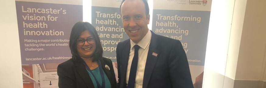 Dr Sherry Kothari with the Secretary of State for Health and Social Care, the Rt Hon Matt Hancock MP