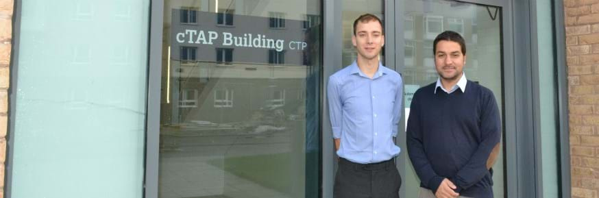 Joe Hobbs and Dr Nuno Bimbo at Lancaster's cTAP building