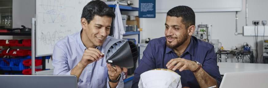 Nicolas Orellana and Yaseen Noorani with their urban wind turbine design