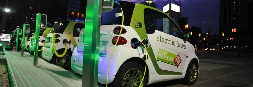 A picture of electric cars charging