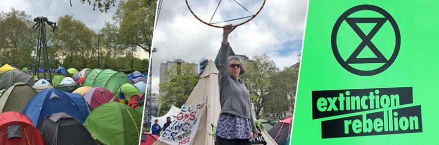 Dr Emily Heath at Extinction Rebellion events in London