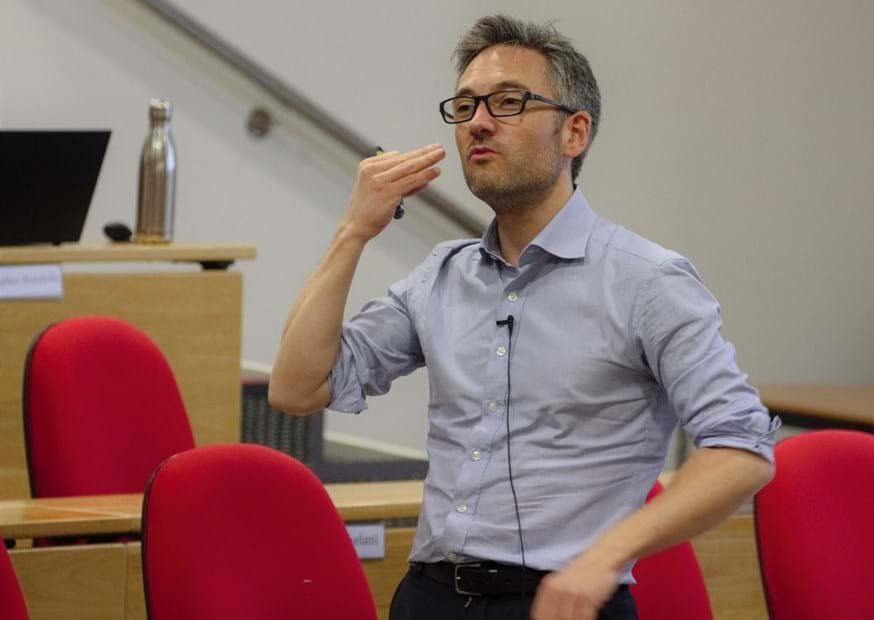 Eric Soubeiran, CEO of Danone Ecosystem and Vice President for Nature and Water Cycle at Danone, delivers a presentation at Lancaster University