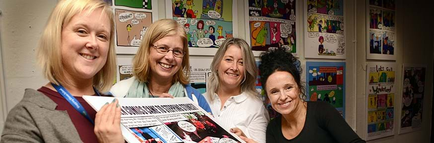 From the left: Alison Dodd, Jane Meacham and Diane Sheron from Stepping Stones with the Dukes Creative Learning and Outreach Manager Vicky Fletcher at the launch