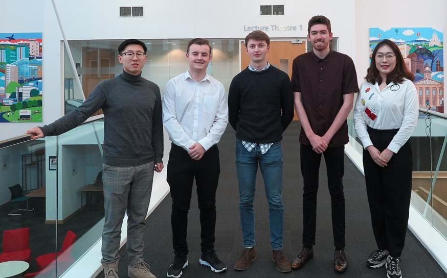 The Lancaster University team who have reached the IBM Undergraduate Universities Business Challenge Grand Final. From left: Haotian Dong, Joe Musker, William Warwick, Ryan Gledhill, Yitao Yang