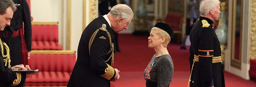 Professor Louise Heathwaite is presented with her CBE by HRH Prince Charles