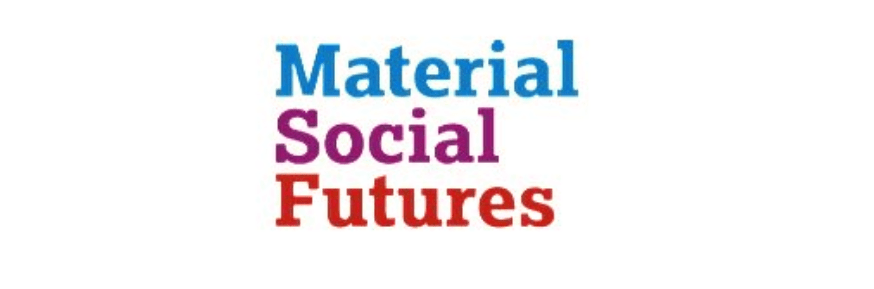 Material Social Futures logo in blue purple and red
