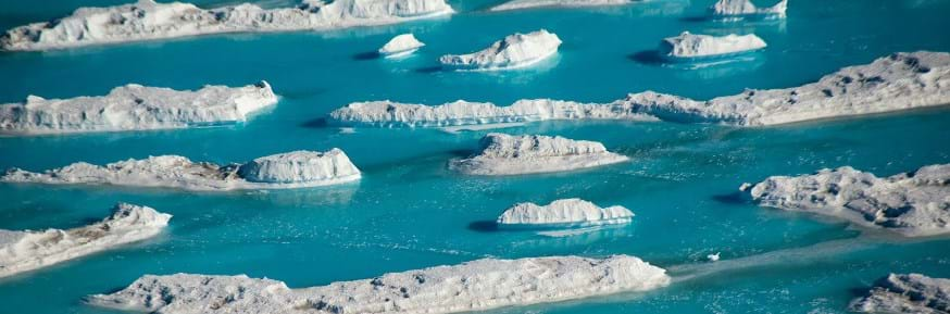 This image shows meltwater on the ice shelf next to McMurdo Station