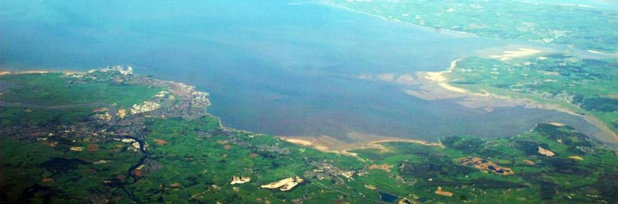 An aerial view of Morecambe Bay