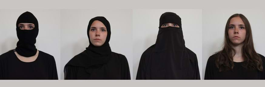 """""""positive biases"""" are created when women testify in court with either their hair covered (the hijab) or their face and hair covered (the niqab)"""