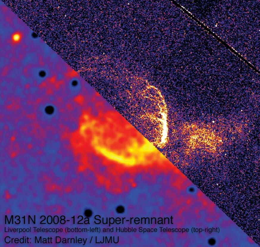 A composite image of Liverpool Telescope data (bottom left) and Hubble Space Telescope data (top right) of the nova super-remnant.M31N 2008-12a is in the centre. Credit: Matt Darnley, LJMU