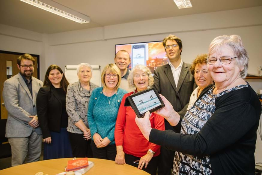 Professor Niall Hayes with Dr Chris Bull (Computing) and some of the older adults who helped design the new app