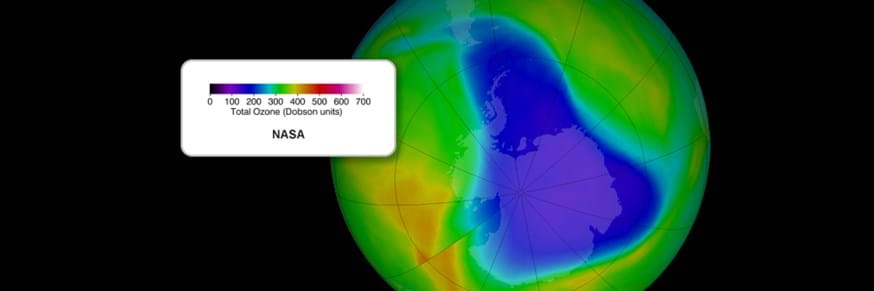 View of planet Earth showing levels of ozone, focused purple and blue colours over Antarctica where there is the least ozone