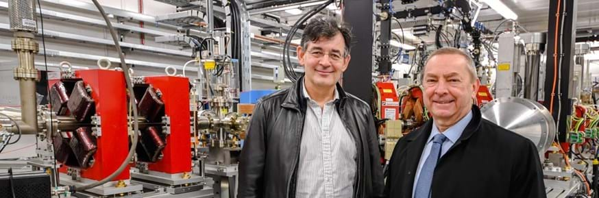 Cockcroft Institute Director Peter Ratoff (left) welcoming Fermilab Director Nigel Lockyer to STFC Daresbury Laboratory