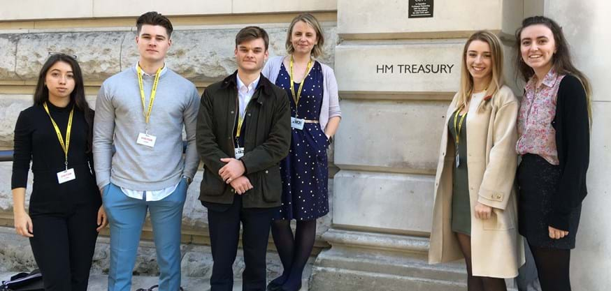 Some of the students involved in the Policy School outside HM Treasury