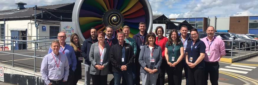 Members of the latest Productivity Through People (PtP) cohort at Lancaster University Management School who visited the Rolls-Royce factory in Barnoldswick as part of their 12-month programme