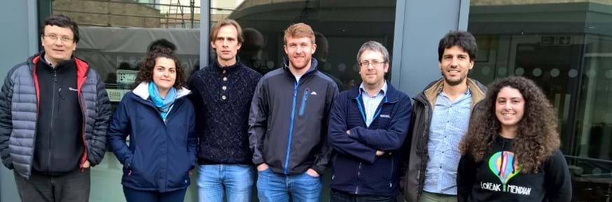 QUANTIHEAT researchers at Lancaster University with Professor Oleg Kolosov on left.