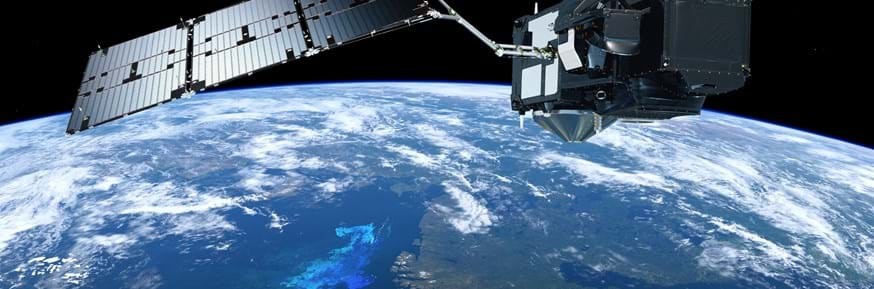 An image of Sentinel-3 orbiting Earth