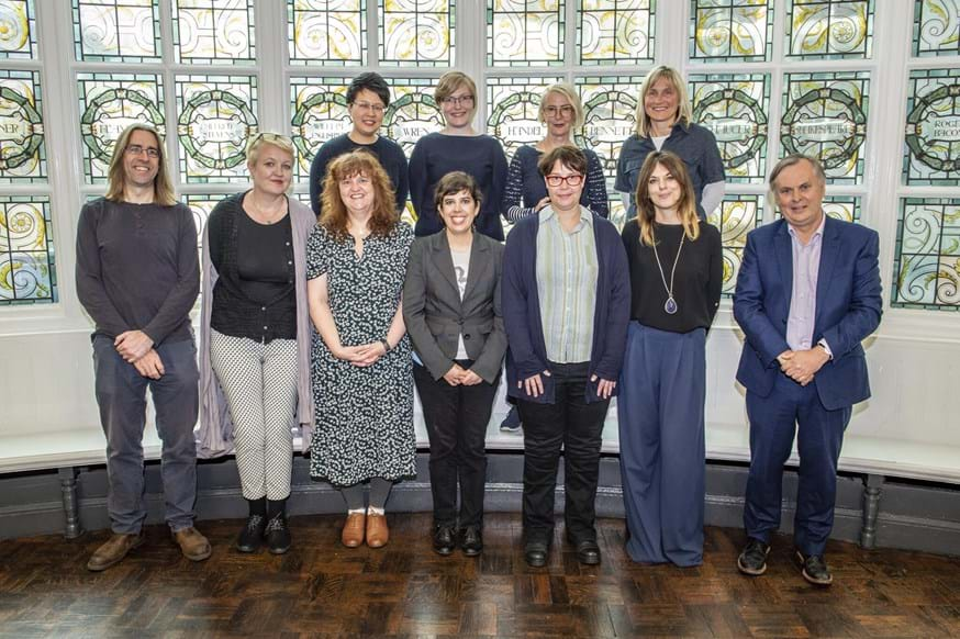 Members of the new team with Head of Department Dr Chris Grover (first from left) and  Incoming Head of department Professor Imogen Tyler (second from left) and (right) Dean of FASS Professor Simon Guy. Front Row (L-R): Dr Lisa Morriss, Dr Gwyneth Lonergan, Dr Stefanie Doebler, Dr Francesca Coin. Back row (L-R): Dr Eva Cheuk-Yin Li, Dr Emma Fraser, Professor Bev Skeggs and Dr Jadwiga Leigh. New staff missing from picture are: Dr Ala Sirriyeh, Professor Helen Wood and Professor Ted Schatzki.