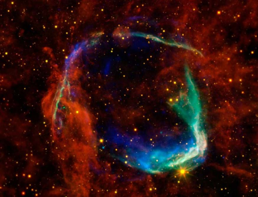 This image combines data from four space telescopes to create a multi-wavelength view of all that remains of RCW 86, the oldest documented example of a supernova.   Image Credit: X-ray: NASA/CXC/SAO & ESA; Infared: NASA/JPL-Caltech/B. Williams (NCSU)
