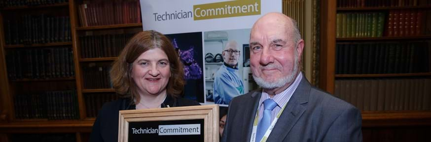 John Dwyer, Superintendent & Safety Officer for the Faculty of Health and Medicine and Fellow of the Institute of Science and Technology was presented with the award at the Signatories meeting held at the Royal Society in London by Helen Pain, Chair of the Technician Commitment Steering Board and Chair of the Science Council & Deputy Chief Executive, Royal Society of Chemistry.