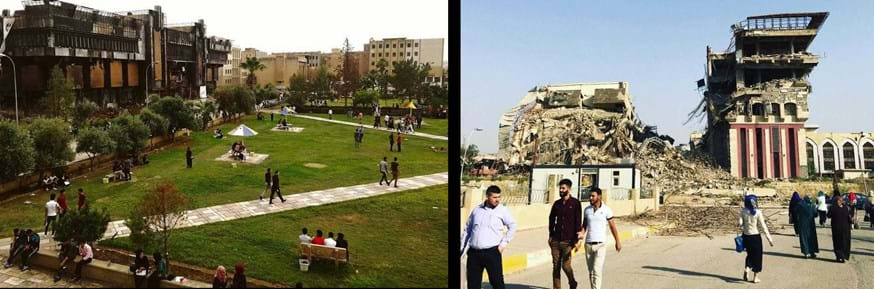 Damaged buildings on Mosul University's campus
