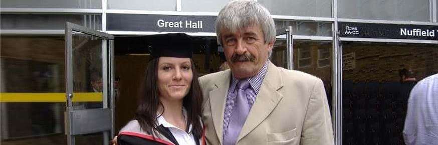 Alan Child with his daughter, Georgina on her graduation day