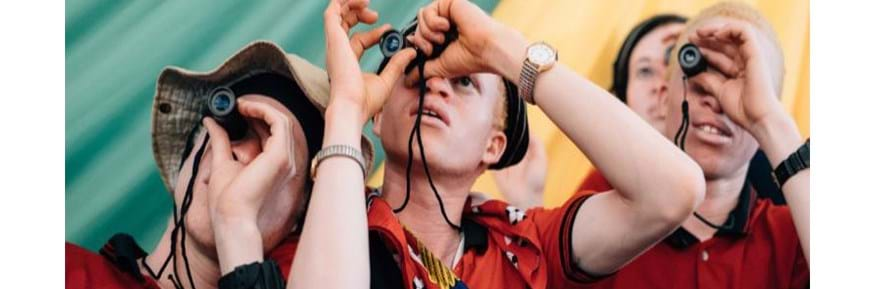 Children with albinism using monocular telescopes   The booklet advises teachers to consider the purpose of different vision devices, including monocular telescopes, and encourage students with albinism, who often have poor eyesight, to use them