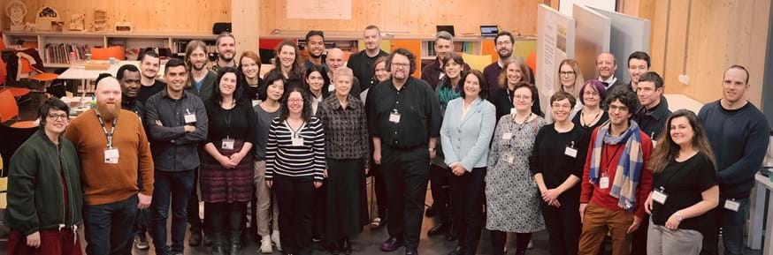 New and existing members of the ImaginationLancaster team who will work on the new BeyondImagination research project. Lancaster University's Pro-Vice-Chancellor (Research and Enterprise) Distinguished Professor Louise Heathwaite is seen (centre) with Programme Principal Investigator Professor Leon Cruickshank (to her right) and Co-Investigator Professor Rachel Cooper (to his right)